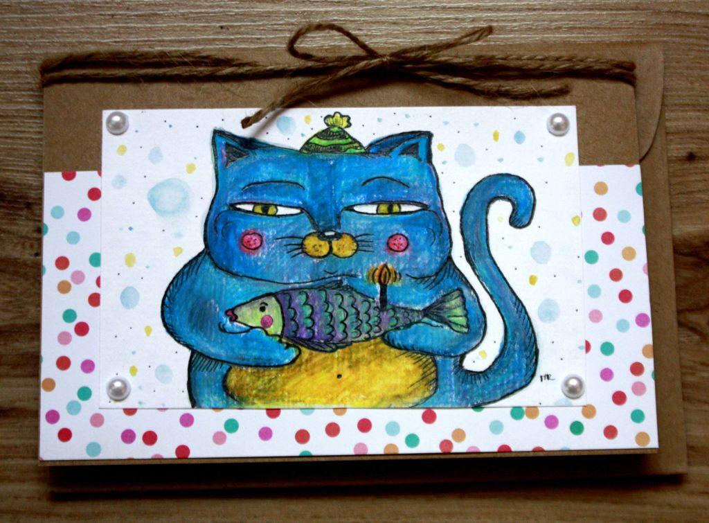 kartka urodzinowa kot z rybą