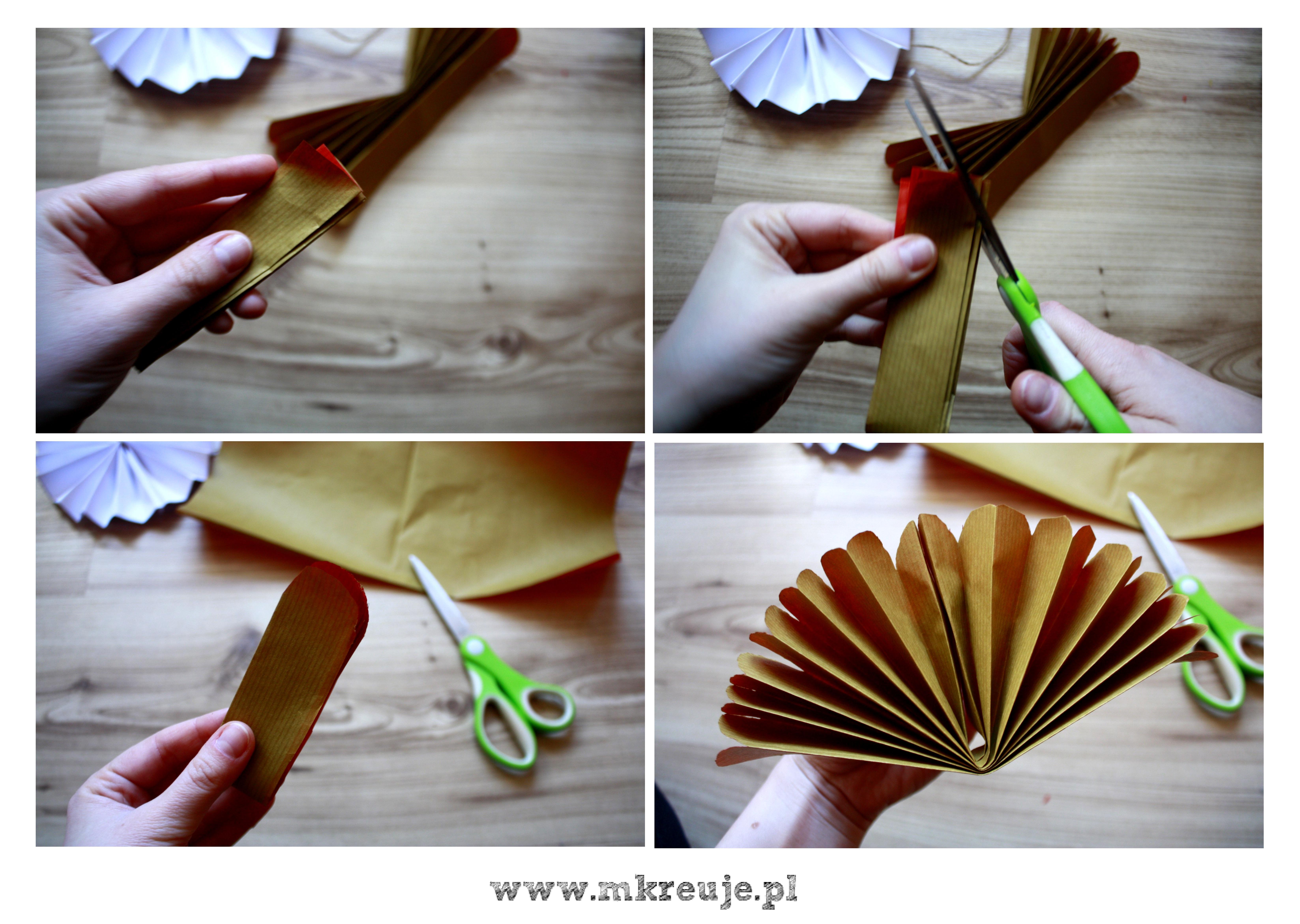 jak zrobić rozetę z okrągłymi końcami, dekoracja DIY