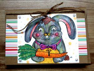 kartka urodzinowa królik z marchewką