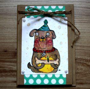 kartka urodzinowa pies z kością