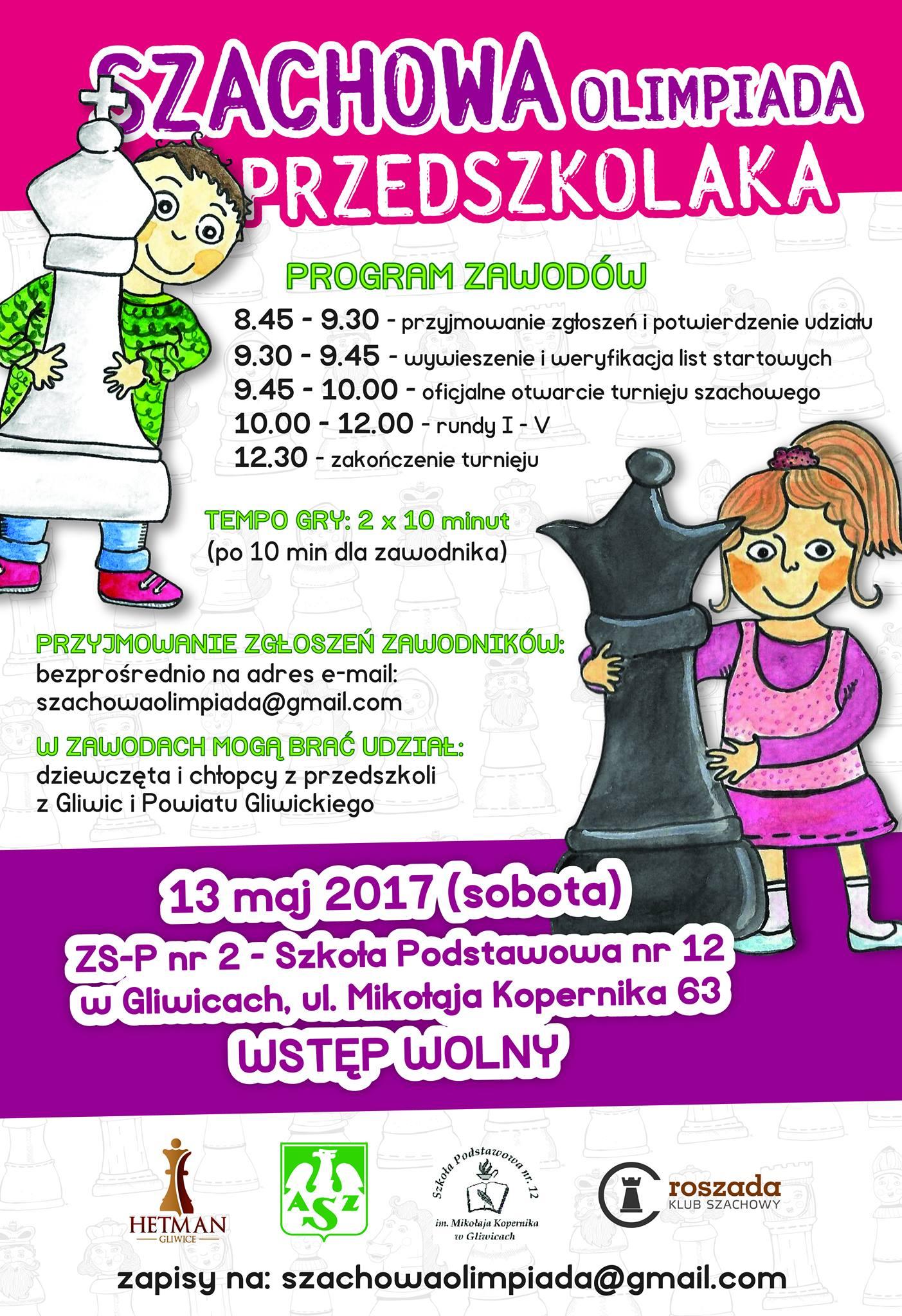 Współpraca z Hetman Gliwice, plakat promujący Szachową Olimpiadę Przedszkolaka
