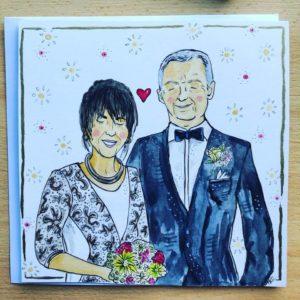 kartka ślubna ręcznie ilustrowana, spersonalizowany prezent dla pary młodej