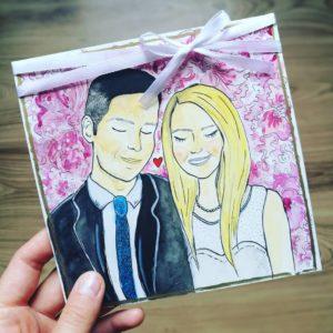 kartka ślubna ręcznie malowana