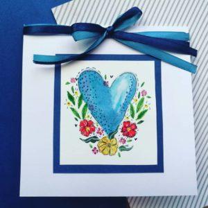kartka ślubna niebieskie serce