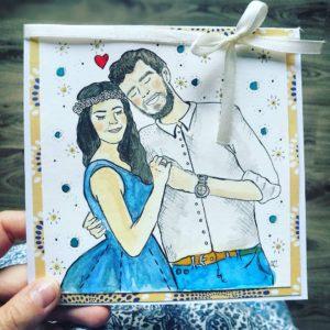 kartka ślubna ręcznie malowana na zamówienie