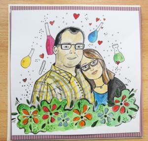 kartka ślubna ręcznie robiona dla męża chemika
