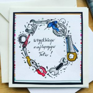 kartka urodzinowa ręcznie robiona, ilustracja ręcznie malowana na zamówienie
