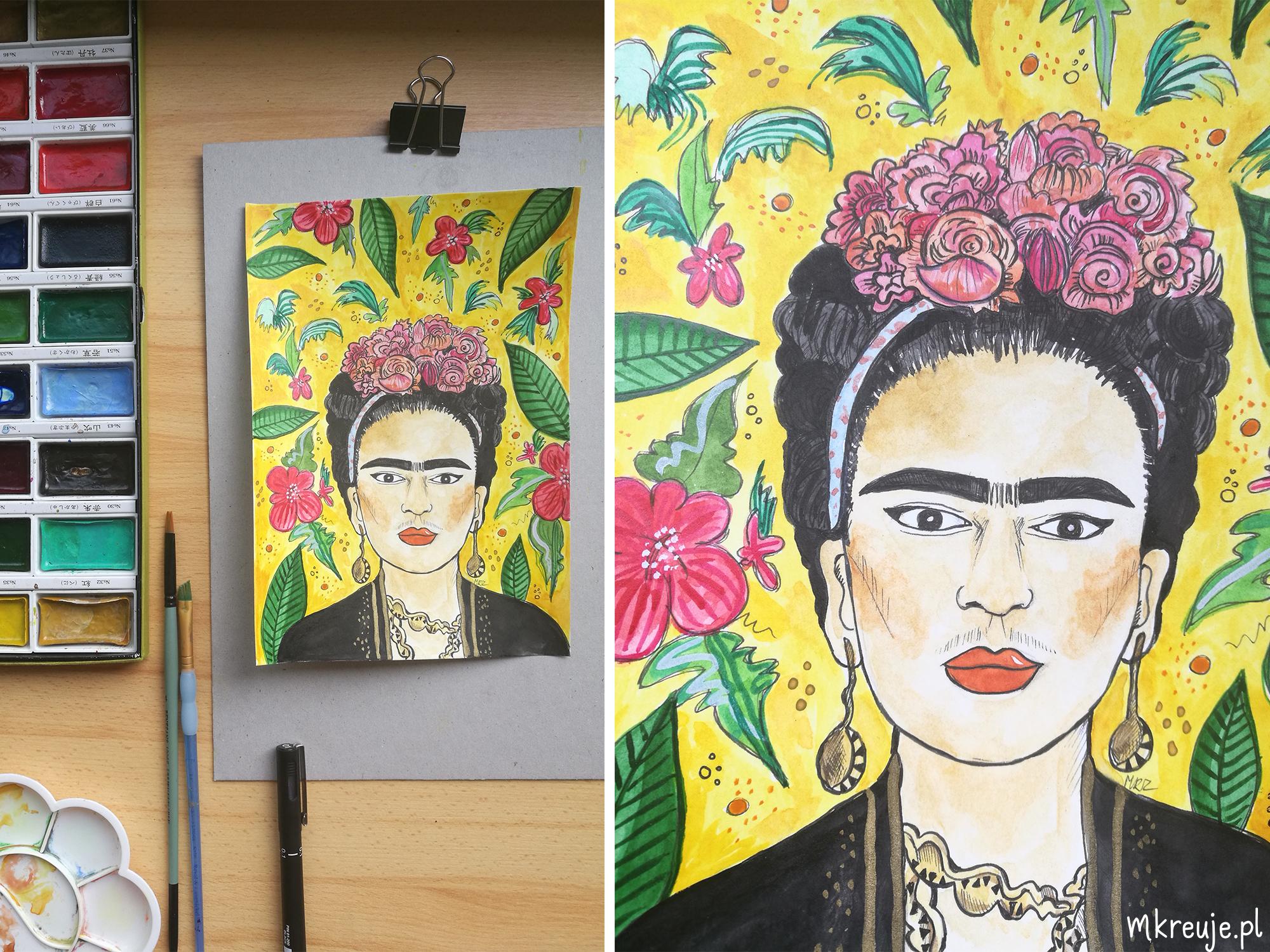 Ilustracja Frida Kahlo mkreuje