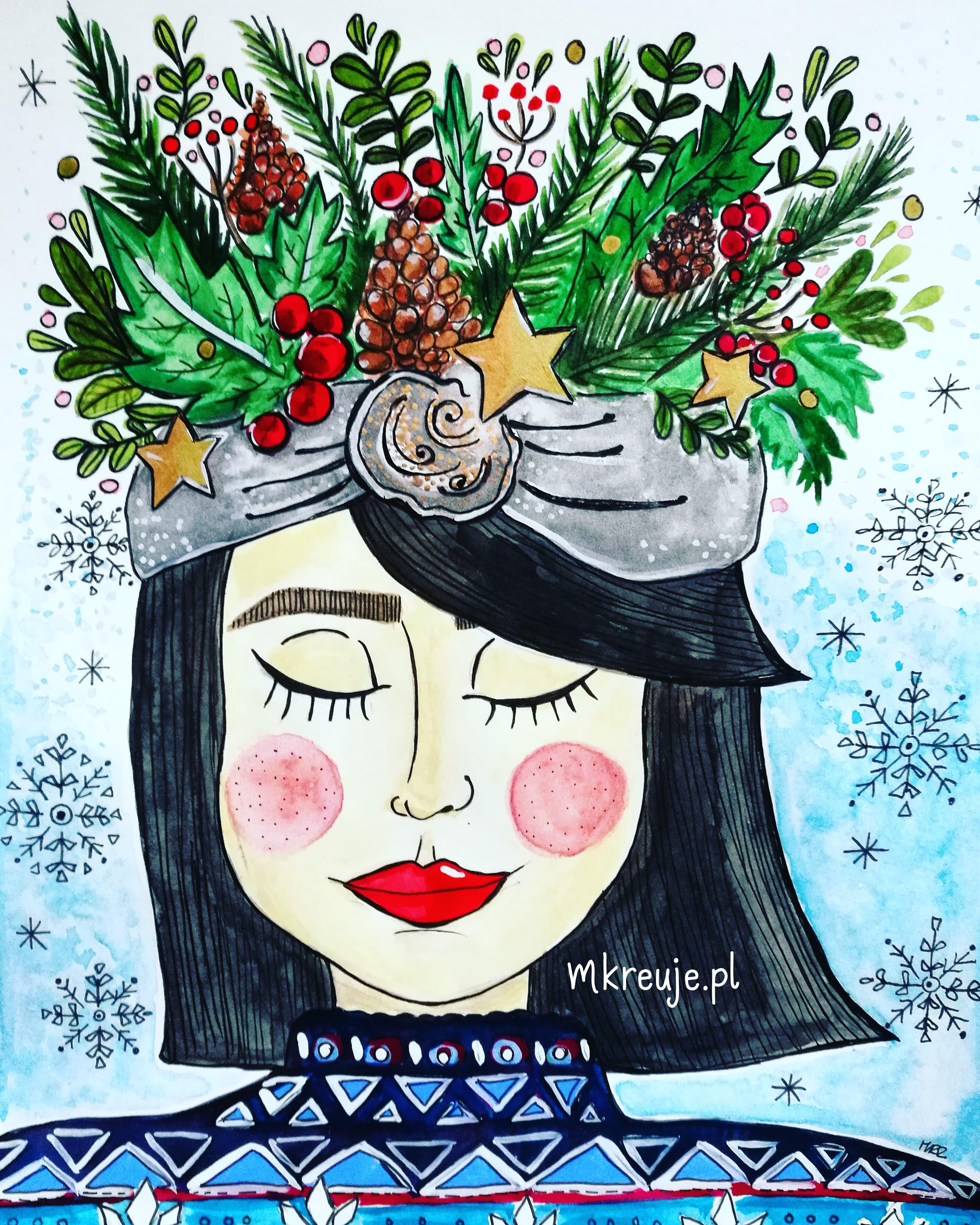 przyszła zima, ilustracja, akwarele, pani zima, mkreuje