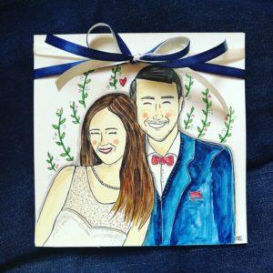 kartka ślubna z wizerunkiem pary inspirowana zdjęciem