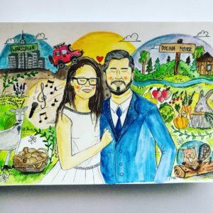 kartka ślubna z wizerunkiem pary młodej, inspirowane zdjęciem portretowym, akwarele