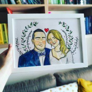 ilustracja ślubna inspirowana zdjęciem pary młodej, mkreuje