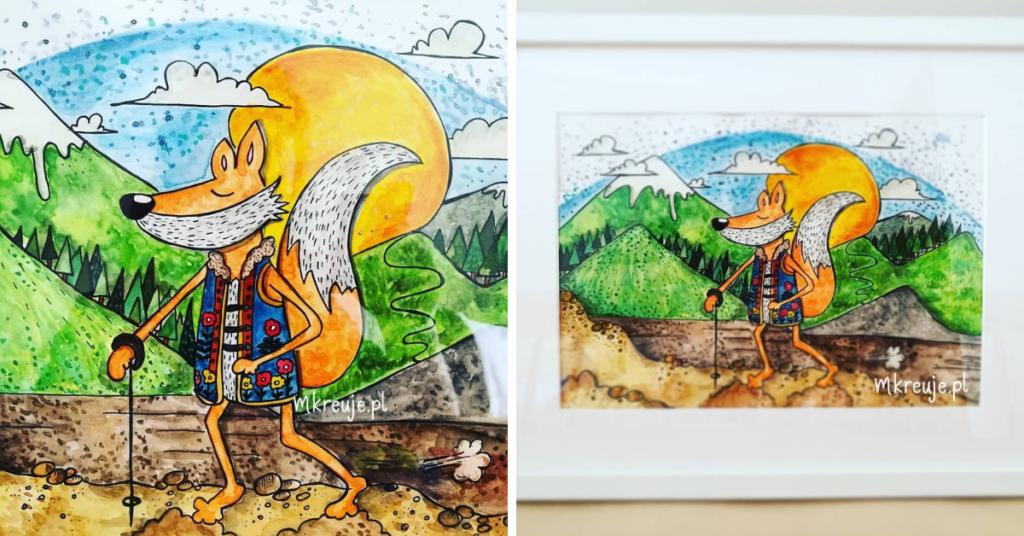 ręcznie malowana akwarelami ilustracja przedstawia liska, który udał się na górską wędrówkę