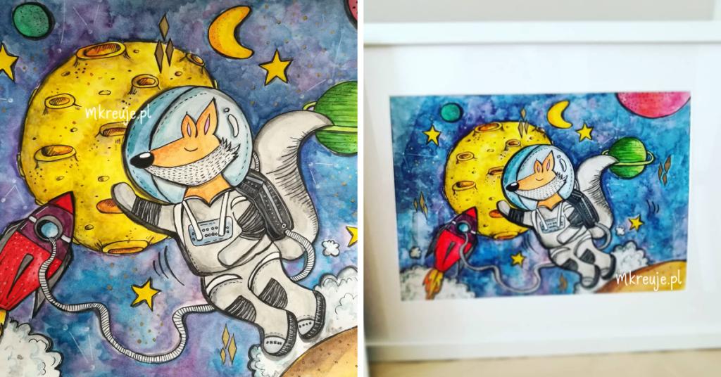 ręcznie malowana akwarelami ilustracja przedstawia liska, który udał się w podróż, by poznać galaktykę i kosmos