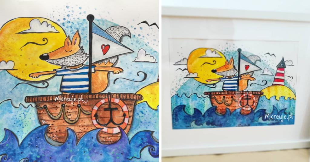 ręcznie malowana akwarelami ilustracja przedstawia liska w łodzi na morzu