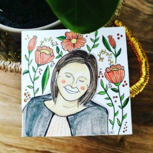 kartka urodzinowa ręcznie malowana z wizerunkiem jubilata