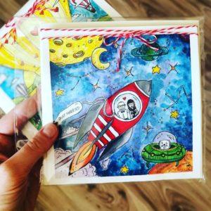kartka ślubna lot w kosmos