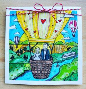 kartka ślubna lot balonem