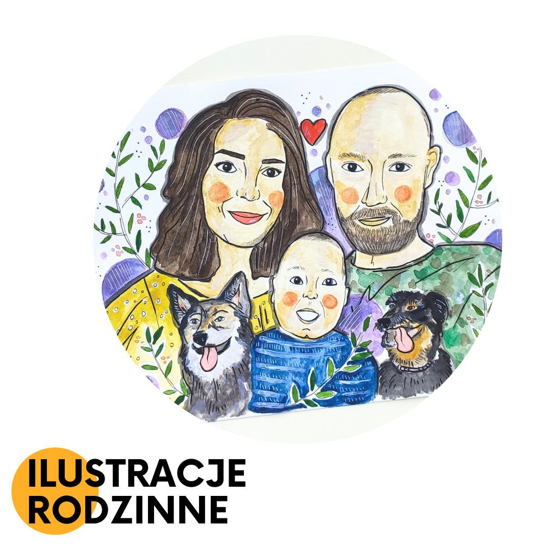 ręcznie malowane ilustracje rodzinne na zamówienie
