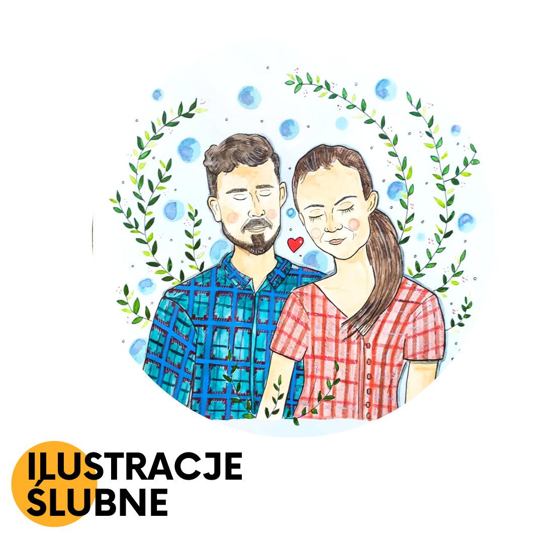 ręcznie malowane ilustracje par, ilustracja na prezent ślubny