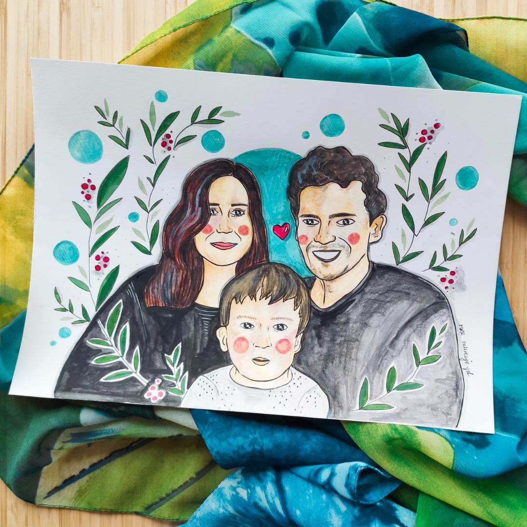 portret rodzinny na zamówienie, 3 osoby